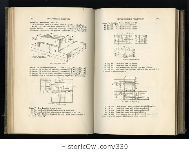 A Manual of Engineer Drawing for Students and Draftsmen Antique Book by Thomas E French C1924 - #IcJxkuLlgs8-7