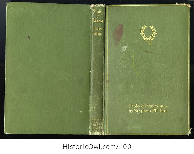 Antique Book Paolo and Francesca a Tragedy in Four Acts by Stephen Phillips C 1901 - #mGCpOdOkLRM-2