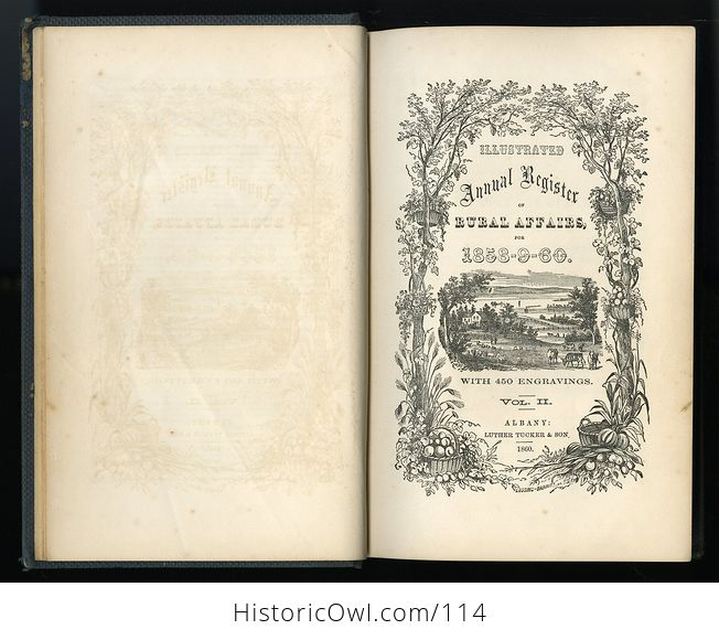 Antique Illustrated Book Annual Register of Rural Affairs for 1858 9 60 Vol Ii C1860 - #OjetYY0kTfQ-3