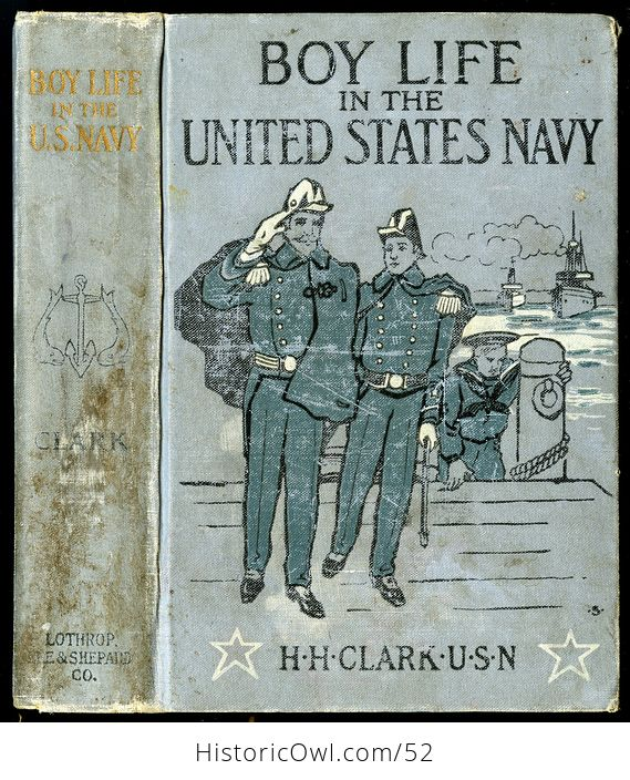 Antique Illustrated Book Boy Life in the United States Navy by H H Clark C1885 - #sFeB0yktOng-1