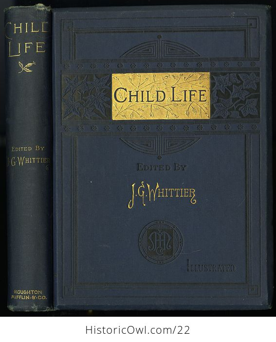 Antique Illustrated Book Child Life a Collection of Poems by John Greenleaf Whittier C1871 - #KtSYMwgcvOA-1