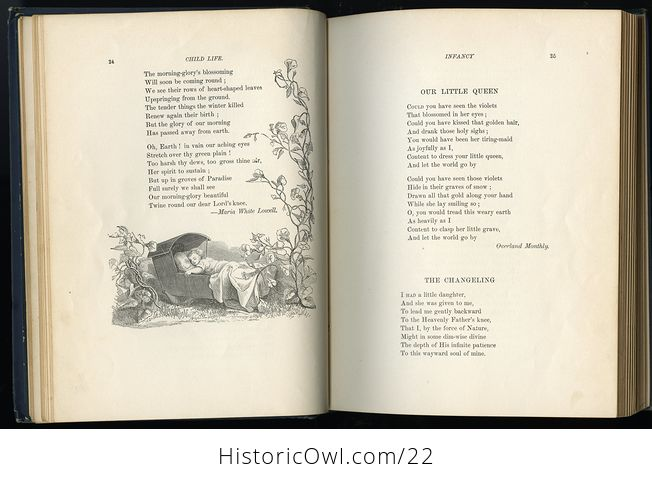 Antique Illustrated Book Child Life a Collection of Poems by John Greenleaf Whittier C1871 - #KtSYMwgcvOA-5