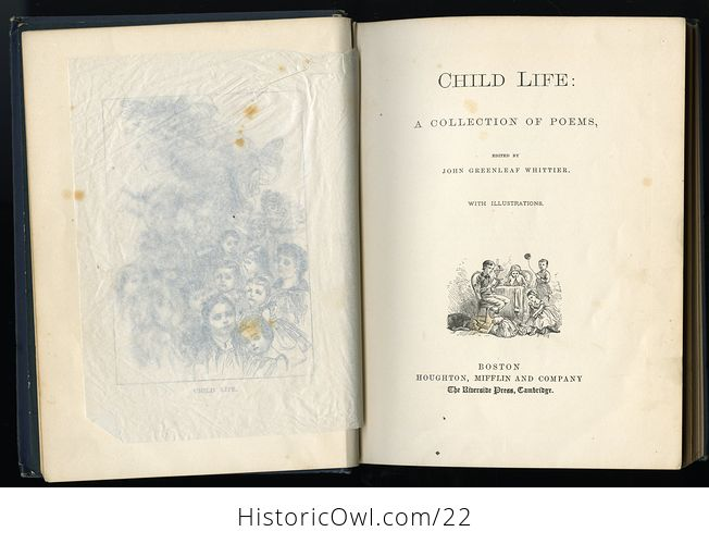 Antique Illustrated Book Child Life a Collection of Poems by John Greenleaf Whittier C1871 - #KtSYMwgcvOA-9