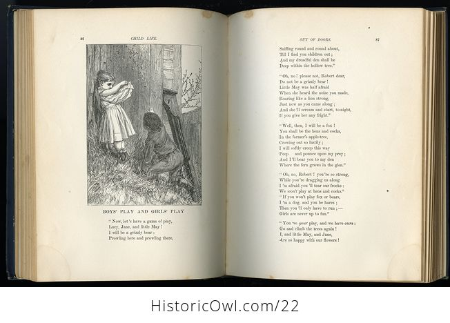 Antique Illustrated Book Child Life a Collection of Poems by John Greenleaf Whittier C1871 - #KtSYMwgcvOA-4