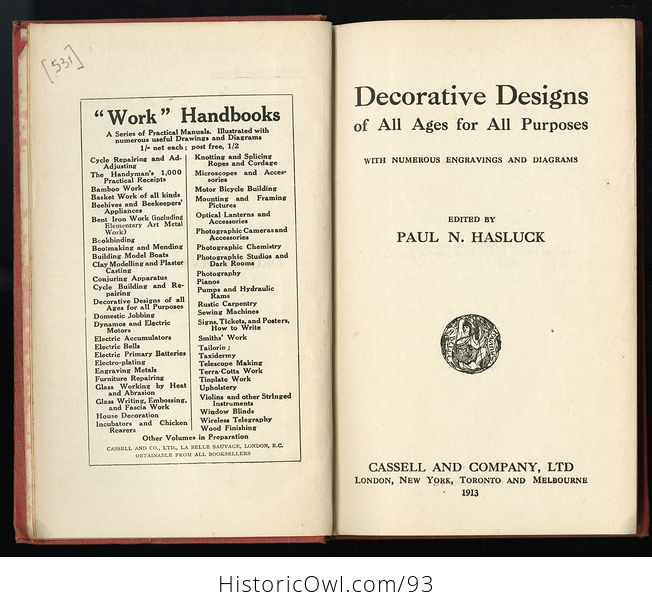 Antique Illustrated Book Decorative Designs of All Ages for All Purposes Edited by Paul N Hasluck C1913 - #Nhzc2ZZXx4Y-9