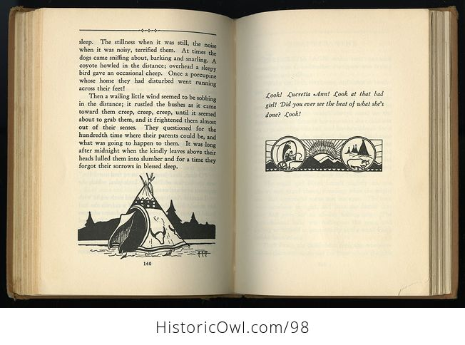 Antique Illustrated Book Lucretia Ann on the Oregon Trail by Ruth Gibson Plowhead C 1931 - #KYsxD3sPUVE-3