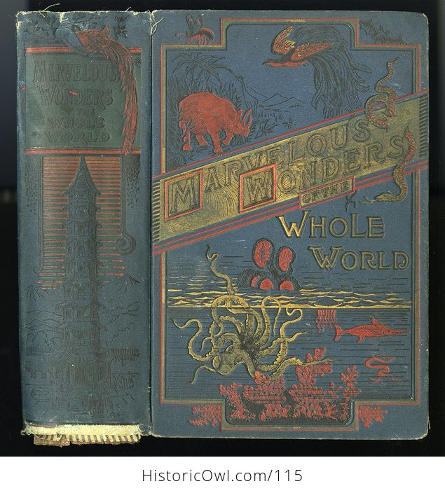 Antique Illustrated Book Marvelous Wonders of the Whole World C1886 - #wJlNpWQywwk-1