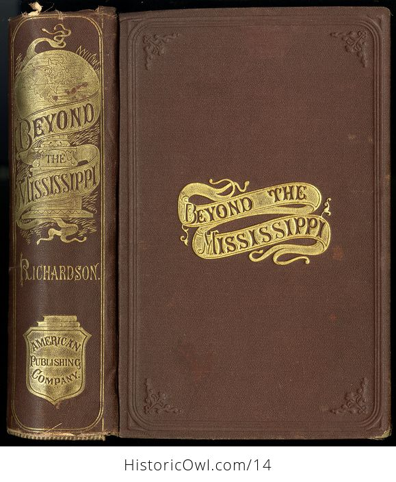 Antique Illustrated Book of Beyond the Mississippi by Albert D Richardson C 1867 - #nsk8M6JwxlE-1
