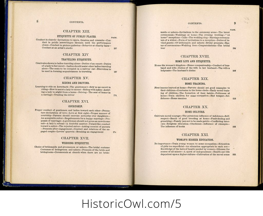 Antique Illustrated Book Our Deportment or the Manners Conduct and