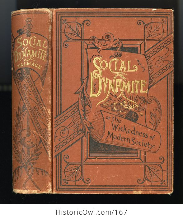 Antique Illustrated Book Social Dynamite or the Wickedness of Modern Society by T Dewitt Talmage C1888 - #PLRqpOru89A-1