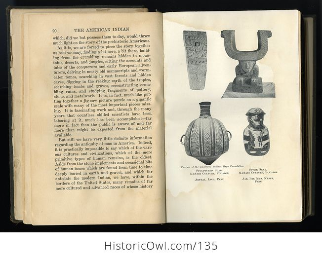 Antique Illustrated Book the American Indian North South and Central America by Hyatt Verrill C1927 Discounted Due to Condition and Missing Pages - #UxkjnaW7WHI-5