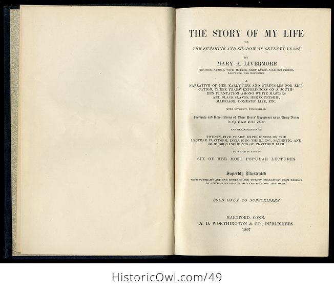Antique Illustrated Book the Story of My Life or the Sunshine and Shadow of Seventy Years by Mary Livermore C1897 - #QwgI6jbAPg4-15