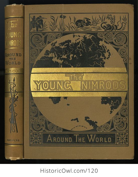Antique Illustrated Book the Young Nimrods Around the World by Thomas W Knox C1882 - #MVkM5qE2NsI-1