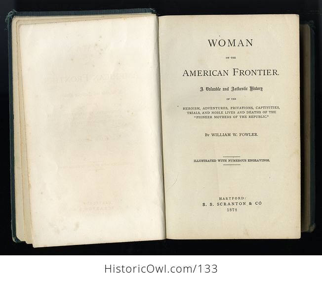 Antique Illustrated Book Woman on the Frontier by William a Fowler C1878 - #vvhWzW5FTE0-8