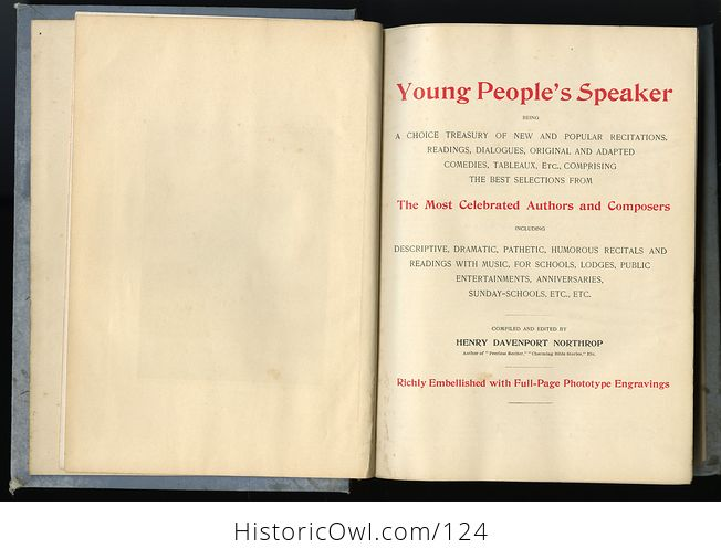Antique Illustrated Book Young Peoples Speaker by Henry Davenport Northrop C1895 - #EQIpN5wFfto-7