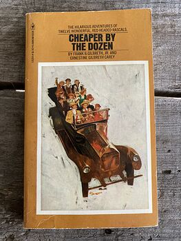 Cheaper by the Dozen Vintage Paperback Book by Frank Gilbreth and Ernestine Gilbreth Carey C1977 #OmgEaksuyYY
