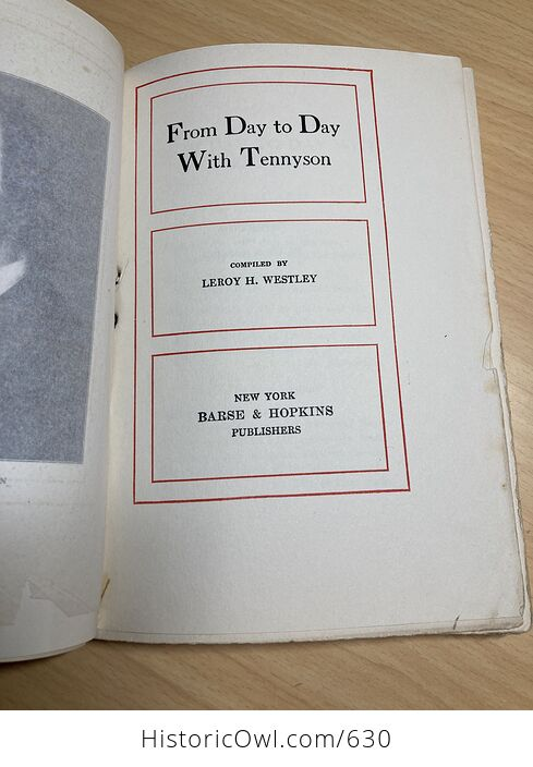 From Day to Day with Tennyson Compiled by Leroy H Westley C1910 - #kTo2dwY7ato-6