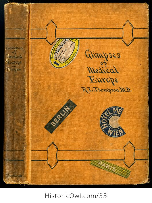 Glimpses of Medical Europe Antique Book by R L Thompson Md C1908 - #RrS3TbR0VmU-1