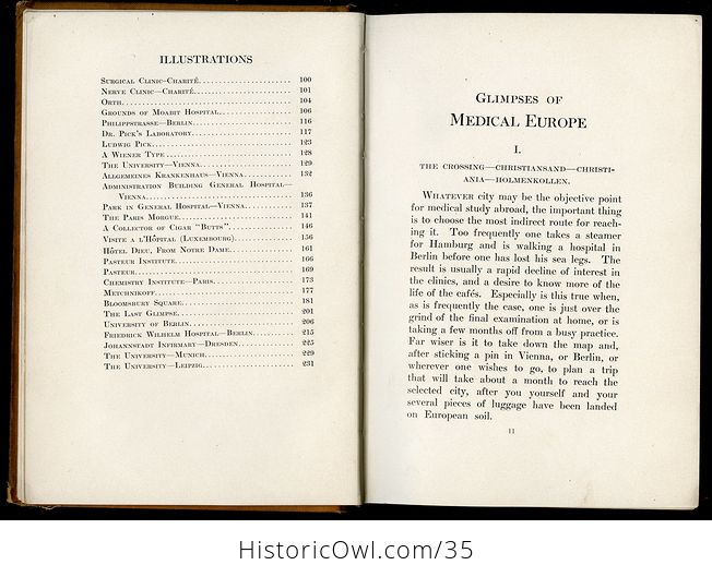 Glimpses of Medical Europe Antique Book by R L Thompson Md C1908 - #RrS3TbR0VmU-8