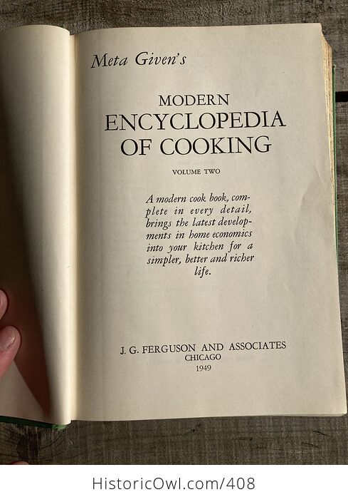 Meta Givens Modern Encyclopedia of Cooking Volume Ii Vintage Book Copyright 1949 - #tmNSSePtqdk-8