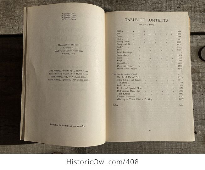 Meta Givens Modern Encyclopedia of Cooking Volume Ii Vintage Book Copyright 1949 - #tmNSSePtqdk-9