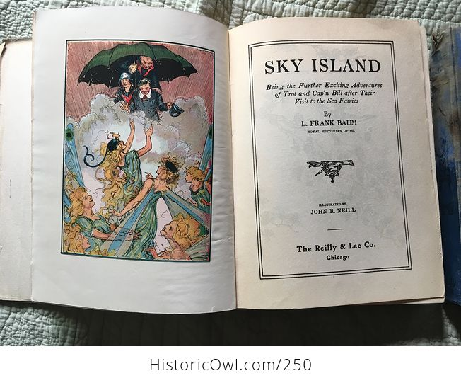 Set of L Frank Baum Books the Emerald City of Oz the Gnome King of Oz Sky Island the Reilly and Lee Co and Illustrated by John R Neill - #WPERG28vUdg-7