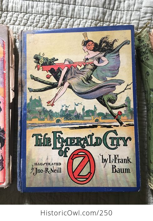 Set of L Frank Baum Books the Emerald City of Oz the Gnome King of Oz Sky Island the Reilly and Lee Co and Illustrated by John R Neill - #WPERG28vUdg-4