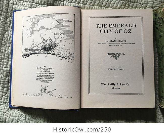 Set of L Frank Baum Books the Emerald City of Oz the Gnome King of Oz Sky Island the Reilly and Lee Co and Illustrated by John R Neill - #WPERG28vUdg-10