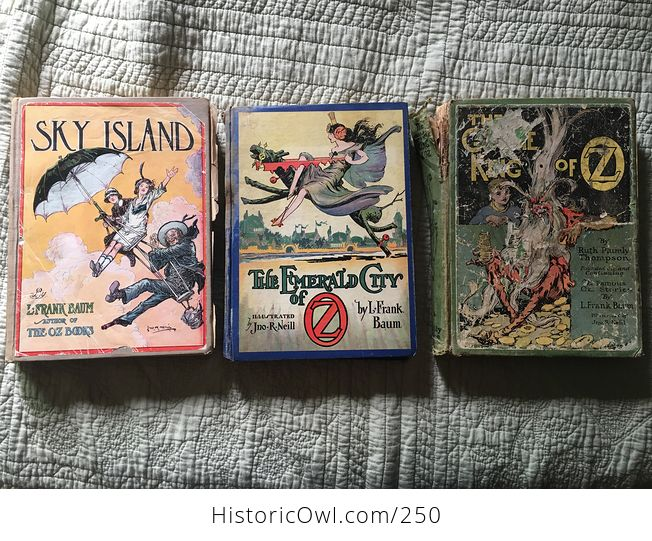 Set of L Frank Baum Books the Emerald City of Oz the Gnome King of Oz Sky Island the Reilly and Lee Co and Illustrated by John R Neill - #WPERG28vUdg-2