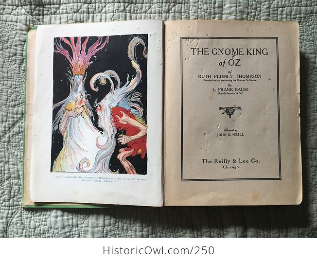 Set of L Frank Baum Books the Emerald City of Oz the Gnome King of Oz Sky Island the Reilly and Lee Co and Illustrated by John R Neill - #WPERG28vUdg-13