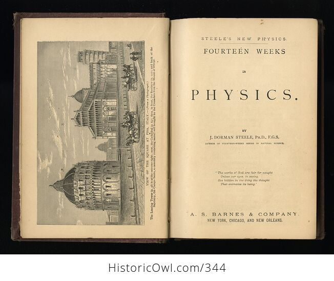 Steeles New Physics Fourteen Weeks in Physics Antique Illustrated Book by J Dorman Steele C1878 - #3QTqFNeTLiM-3