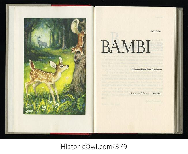 Vintage Bambi Illustrated Book by Felix Salten Simon and Schuster C1956 - #ifRb52jZLhU-2