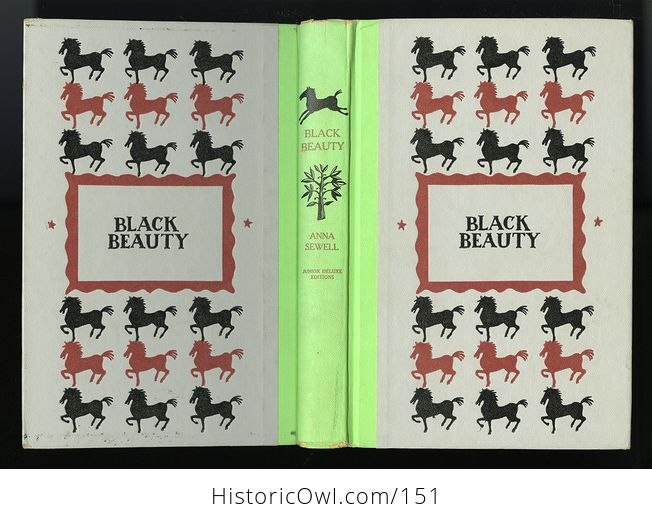 Vintage Book Black Beauty the Autobiography of a Horse by Anna Sewell Illustrated by Walter Seaton Junior Deluxe Editions - #ySRxoD5XQPg-10