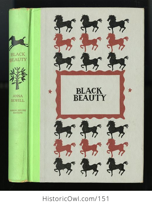 Vintage Book Black Beauty the Autobiography of a Horse by Anna Sewell Illustrated by Walter Seaton Junior Deluxe Editions - #ySRxoD5XQPg-1