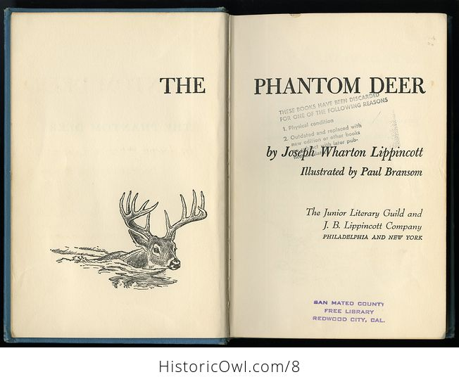 Vintage Book the Phantom Deer by Joseph Wharton Lippincott 1954 - #jOfUo1QJhAA-5
