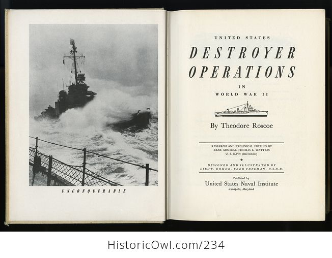 Vintage Book United States Destroyer Operations in World War Ii by Theodore Roscoe C1953 - #0r76vexMAfs-3