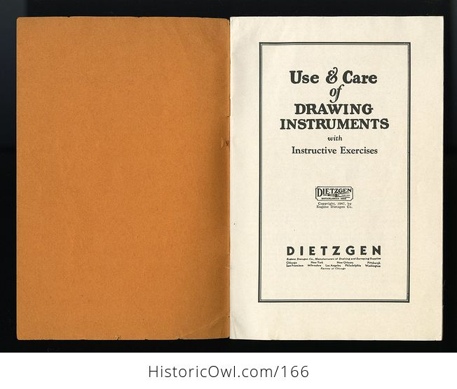 Vintage Booklet Use and Care of Drawing Instruments with Instructive Exercises by Eugene Dietzgen C1947 - #A6wECF86eWI-2