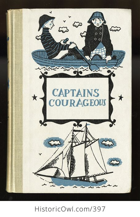 Vintage Captains Courageous Illustrated Book by Rudyard Kipling Junior Deluxe Editions C1957 - #9m0K4AsQDe4-1