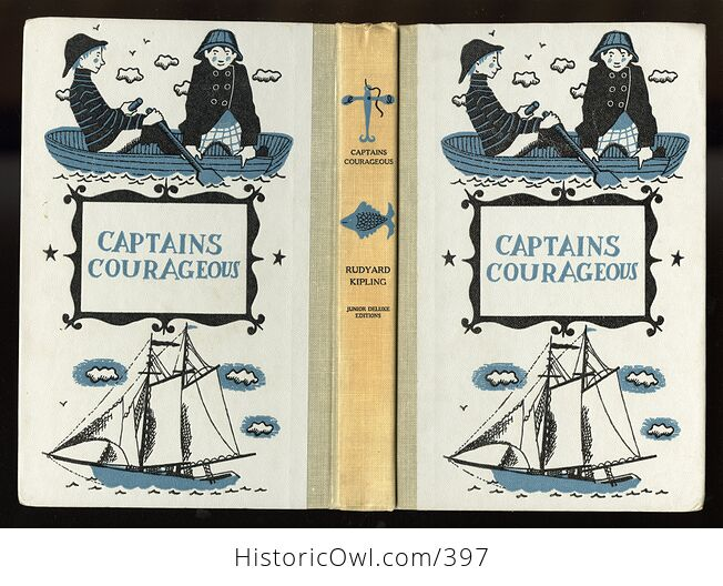 Vintage Captains Courageous Illustrated Book by Rudyard Kipling Junior Deluxe Editions C1957 - #9m0K4AsQDe4-5