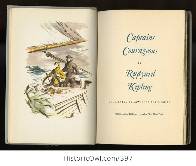 Vintage Captains Courageous Illustrated Book by Rudyard Kipling Junior Deluxe Editions C1957 - #9m0K4AsQDe4-4