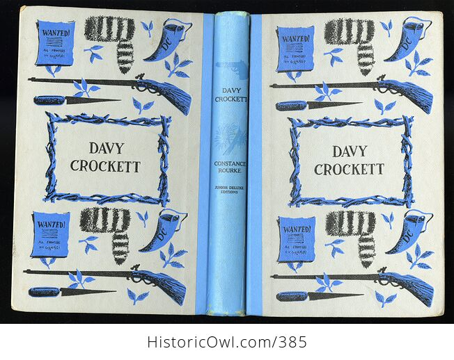 Vintage Davy Crockett Illustrated Book by Constance Rourke Junior Deluxe Editions C1962 - #oCQs5ciamlM-2