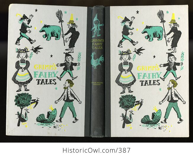 Vintage Grimms Fairy Tales Illustrated Book by Jakob and Wilhelm Grimm Junior Deluxe Editions C1954 - #ZOxnfKMc6EI-2