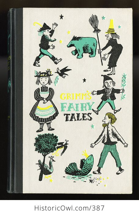 Vintage Grimms Fairy Tales Illustrated Book by Jakob and Wilhelm Grimm Junior Deluxe Editions C1954 - #ZOxnfKMc6EI-1