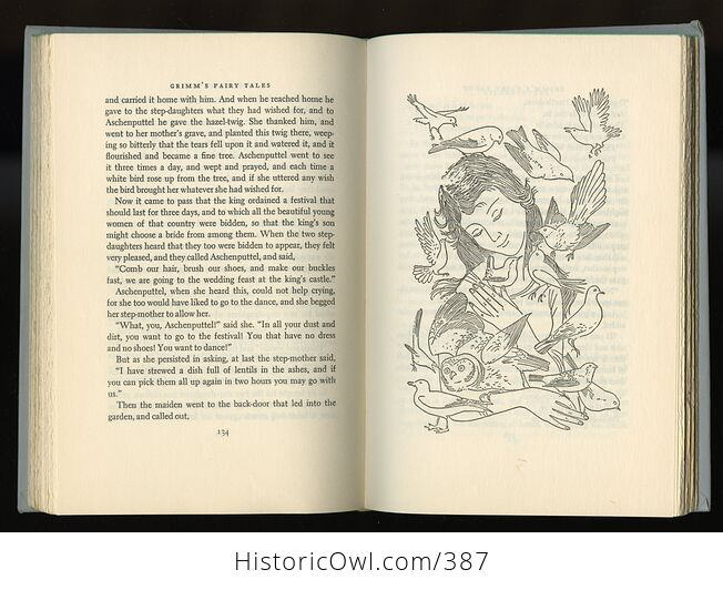 Vintage Grimms Fairy Tales Illustrated Book by Jakob and Wilhelm Grimm Junior Deluxe Editions C1954 - #ZOxnfKMc6EI-8
