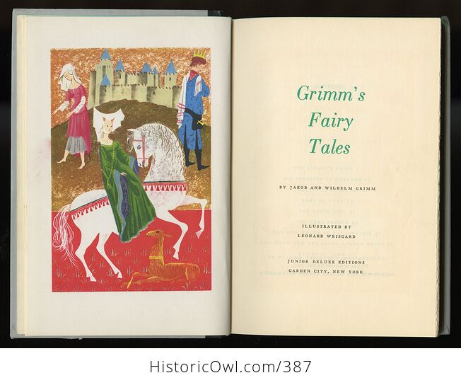 Vintage Grimms Fairy Tales Illustrated Book by Jakob and Wilhelm Grimm Junior Deluxe Editions C1954 - #ZOxnfKMc6EI-4