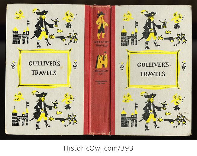 Vintage Gullivers Travels Illustrated Book by Jonathan Swift Junior Deluxe Editions C1954 - #jQZp5x6L8ig-2