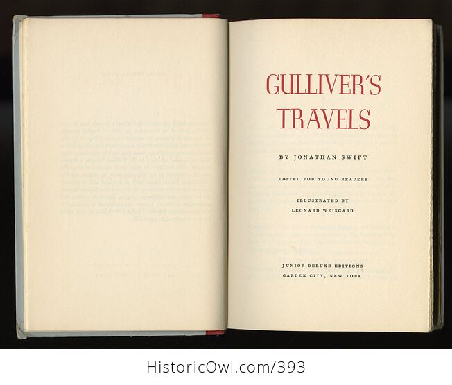 Vintage Gullivers Travels Illustrated Book by Jonathan Swift Junior Deluxe Editions C1954 - #jQZp5x6L8ig-5