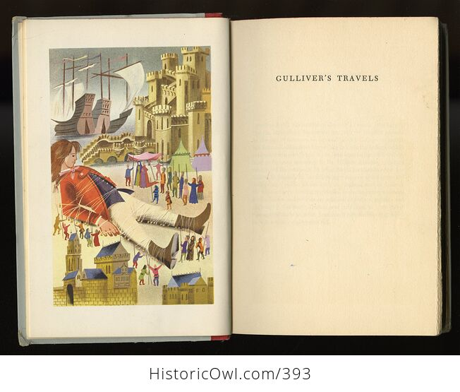 Vintage Gullivers Travels Illustrated Book by Jonathan Swift Junior Deluxe Editions C1954 - #jQZp5x6L8ig-4
