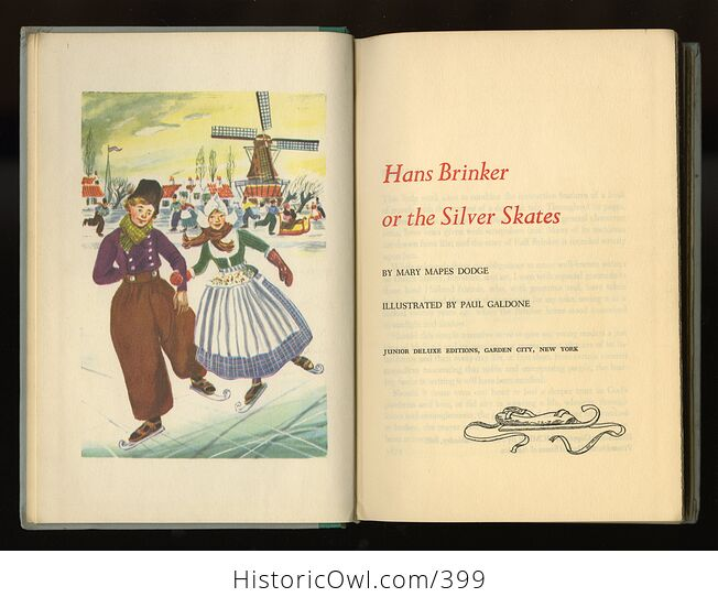 Vintage Hans Brinker or the Silver Skates Illustrated Book by Mary Mapes Dodge Junior Deluxe Editions C1954 - #wdqIO7ccuBA-2