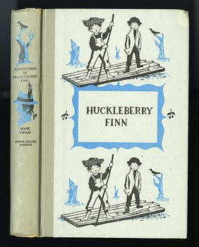 Vintage Illustrated Book Adventures of Huckleberry Finn by Mark Twain Junior Deluxe Editions C1954 #qYY3rN7skvM